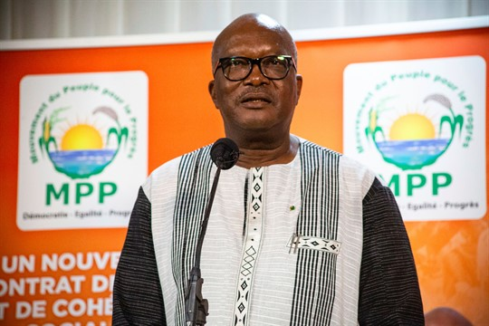President Roch Marc Christian Kabore addresses supporters after provisional election results were announced, in Ouagadougou