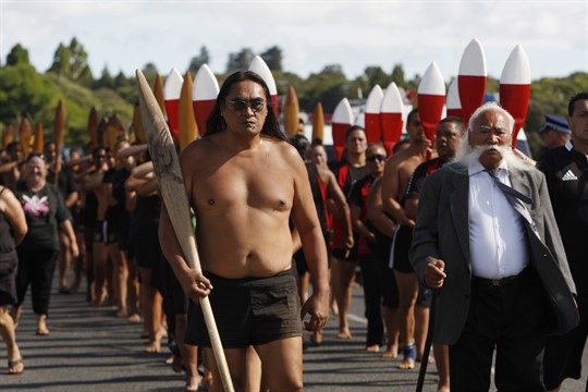 Maori canoeists mark the 175th anniversary of the signing of the Treaty of Waitangi in 2015