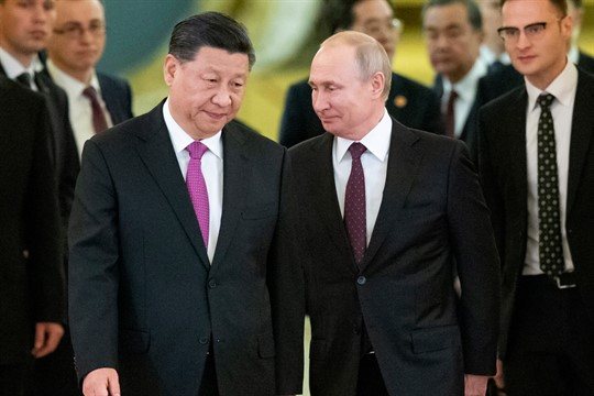 Russian President Vladimir Putin and Chinese leader Xi Jinping in the Kremlin