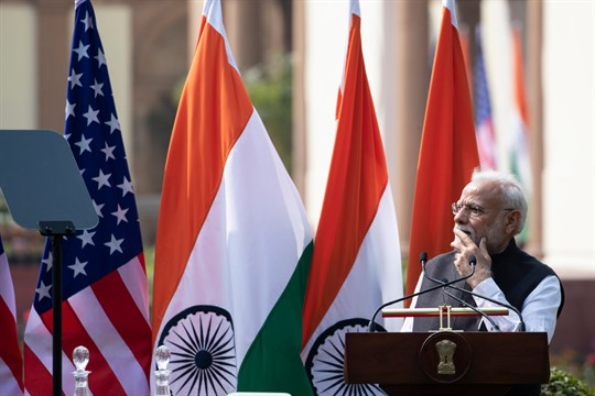 Indian Prime Minister Narendra Modi during a news conference with then-U.S. President Donald Trump