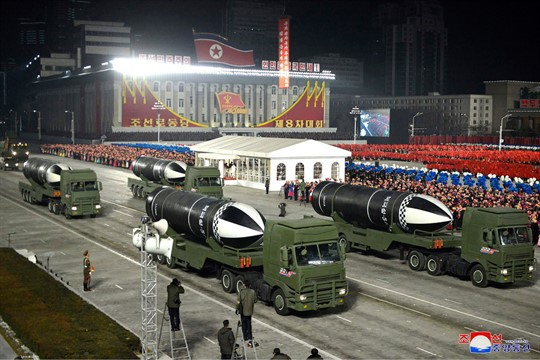Missiles during a military parade marking the Eighth Party Congress of North Korea's Workers' Party