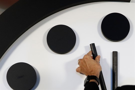 The minute hand of the the Doomsday Clock moving closer to midnight, 2018
