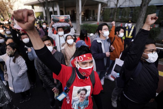Supporters of Myanmar's National League for Democracy protest in front of the Foreign Ministry in Tokyo