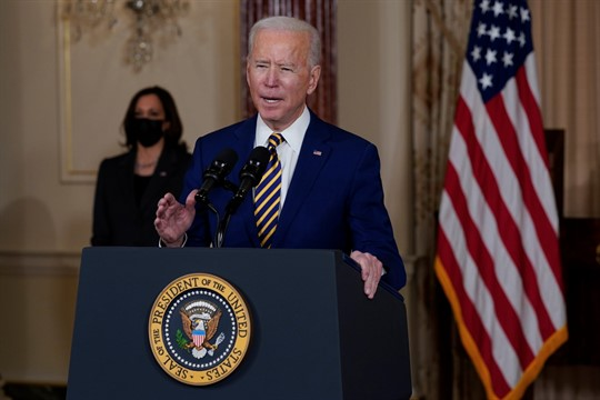 President Joe Biden delivers a speech on foreign policy at the State Department in Washington