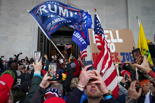 Trump supporters gather outside the Capitol in Washington, Jan. 6, 2021