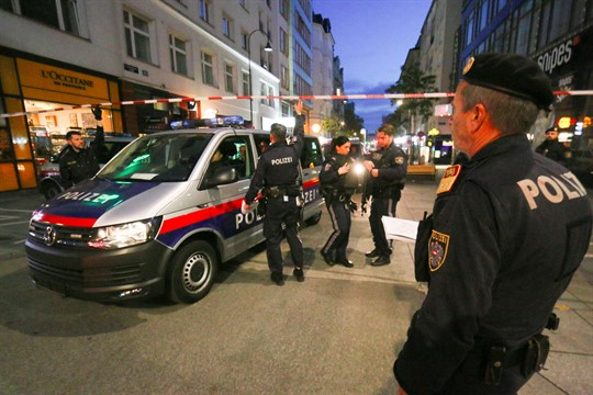 Police respond at the scene of a shooting attack in Vienna last November.