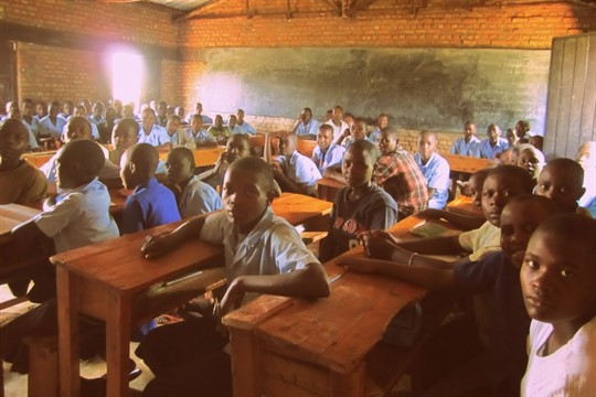 Primary school students in a classroom in Eastern Province, Rwanda, in 2012
