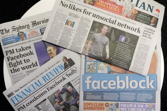 Front pages of Australian newspapers featuring stories about Facebook, in Sydney