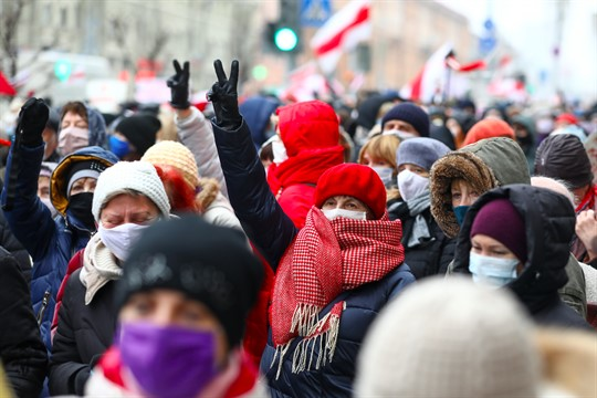 Pensioners wearing face masks attend an opposition rally in Minsk, Belarus.