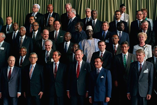 U.S. President George H. W. Bush with other heads of state at the 1992 Earth Summit