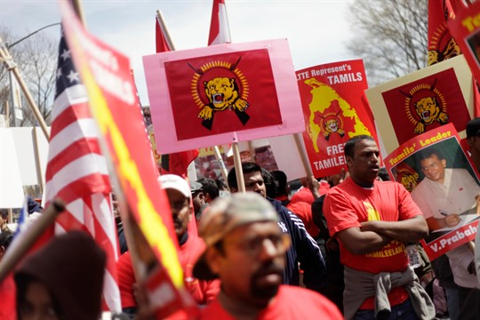 A rally near United Nations Headquarters to protest Sri Lanka's military offensive against the Tamil Tigers