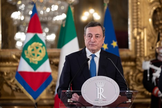 Mario Draghi speaks to the media at Rome's Quirinale Presidential Palace