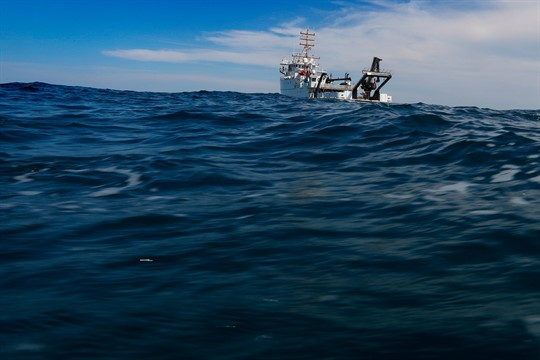 The NOAA Ship Nancy Foster travels over Gray's Reef