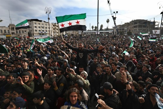 Thousands of anti-government protesters in Idlib on the anniversary of the Syria civil war.