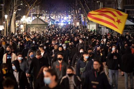 A protest condemning the arrest of rapper Pablo Hasel in Barcelona, Spain