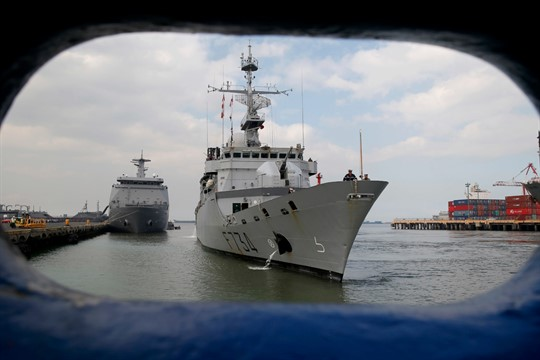 The French Navy ship Vendemiaire during a port call in Manila, Philippines