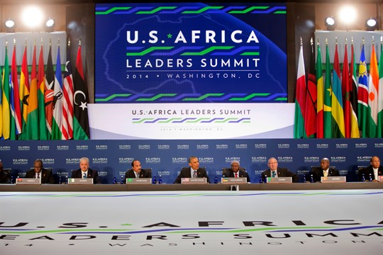 Former President Barack Obama speaks at the U.S.-Africa Leaders Summit in Washington, 2014