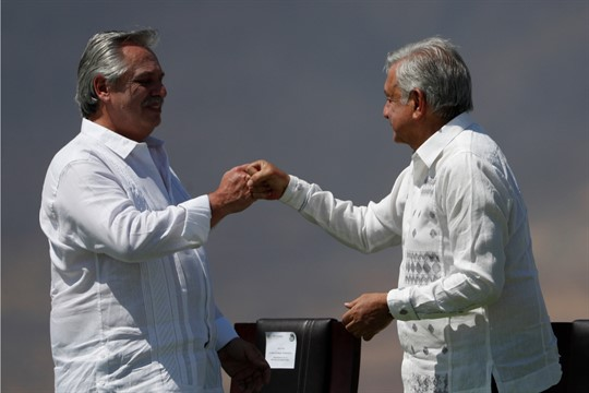Mexican President Andres Manuel Lopez Obrador and Argentine President Alberto Fernandez in Iguala, Mexico