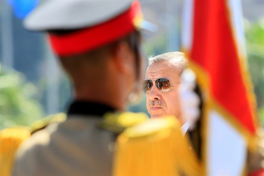 Turkish Prime Minister Recep Tayyip Erdogan during a visit to Cairo, Egypt in 2011
