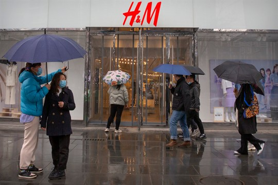 An H&M clothing store at a shopping mall in Beijing
