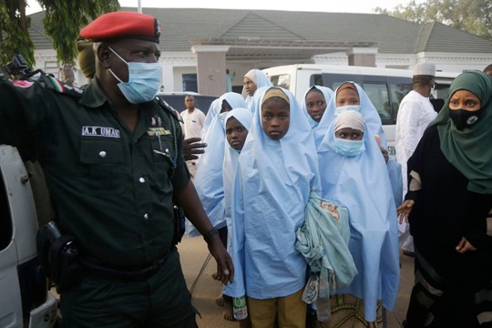 Students who were abducted by gunmen in Zamfara state after their release