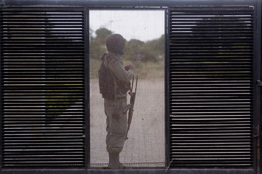 A Mozambican soldier at a technical school in Maluana, Mozambique, in 2016