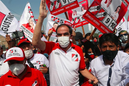 Yonhy Lescano, the presidential candidate of the Popular Action party, campaigns on the outskirts of Lima