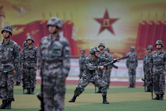PLA cadets take part in bayonet drills at the Armored Forces Engineering Academy Base near Beijing