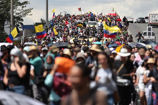 Anti-government demonstrators march during a national strike in Bogota, Colombia