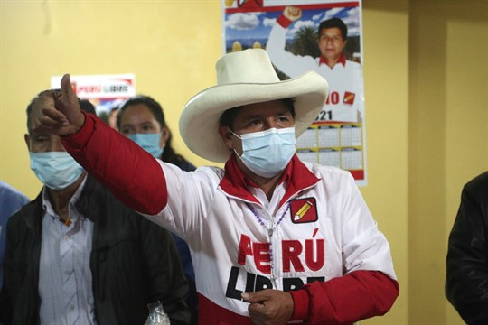 Presidential candidate of the Peru Libre party Pedro Castillo speaks during a conference in Chota, Peru