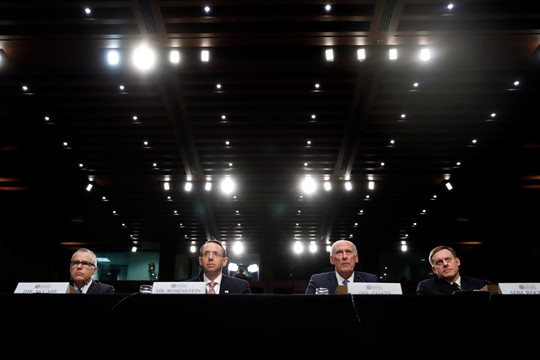 U.S. intelligence and law enforcement officials at a Senate Intelligence Committee hearing