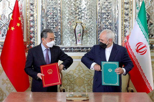 Iranian Foreign Minister Javad Zarif and his Chinese counterpart, Wang Yi, in Tehran.