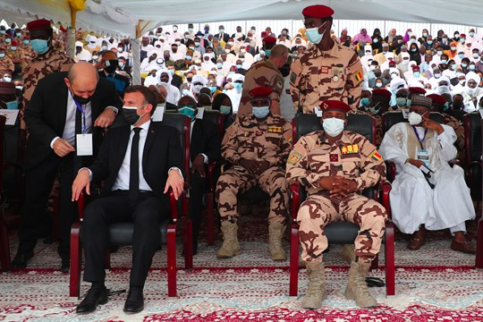French President Emmanuel Macron attends Idriss Deby's state funeral with Mahamat Idriss Deby
