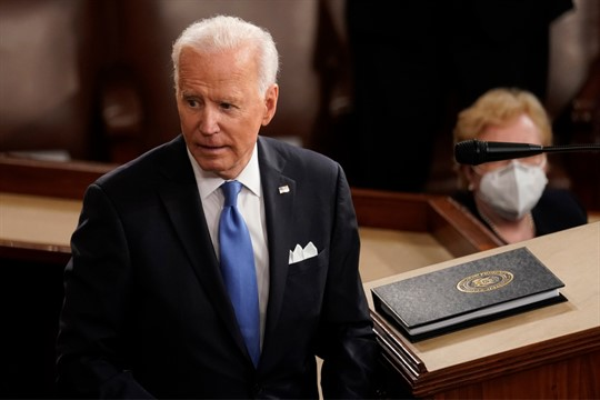 President Joe Biden turns from the podium after speaking to a joint session of Congress