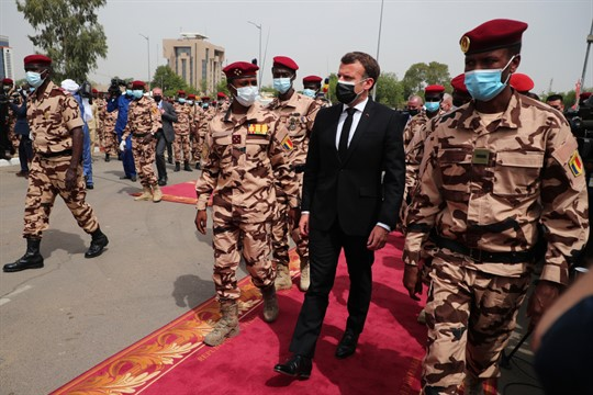 French President Emmanuel Macron attends the state funeral for the late Chadian President Idriss Deby