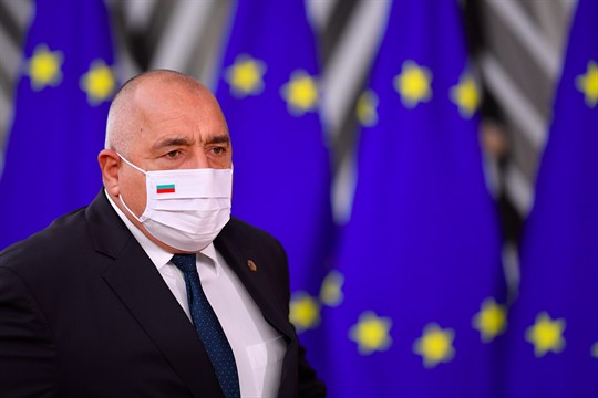 Bulgarian Prime Minister Boyko Borissov arrives for an EU summit in Brussels.