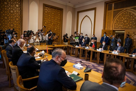 Turkey's deputy foreign minister and his Egyptian counterpart Hamdi Sanad Loza, and their delegations, in Cairo