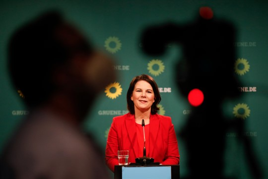Annalena Baerbock of Germany's Green party at a news conference in Berlin