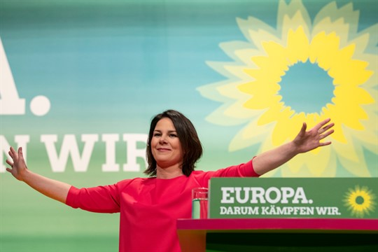 Annalena Baerbock of Germany's Green party at a party convention in Leipzig in 2018