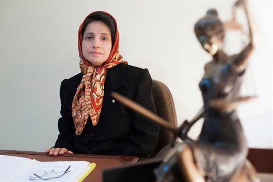 Iranian human rights lawyer Nasrin Sotoudeh in her office in Tehran