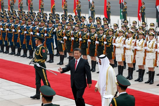 Mohammed bin Zayed and Xi Jinping at a welcome ceremony in Beijing, in 2019
