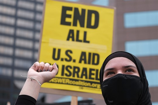 A demonstrator takes part in a protest in support of Palestinians, in Los Angeles