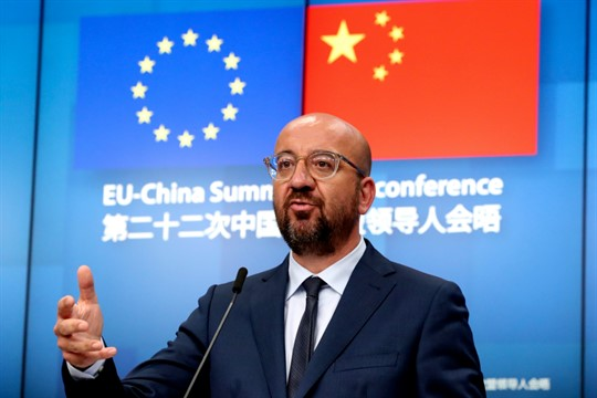 European Council President Charles Michel speaks at the conclusion of an EU-China summit