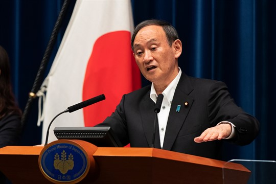 Japanese Prime Minister Suga Yoshide at a news conference in Tokyo