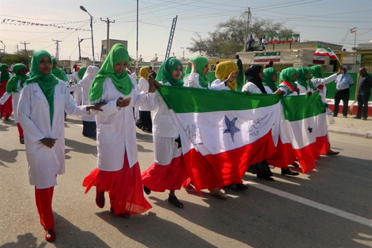 Women march in a procession to celebrate the 25th anniversary of proclaimed independence in Hargeisa, Somaliland