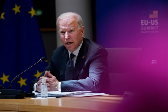 President Joe Biden speaks at the United States-European Union Summit at the European Council in Brussels