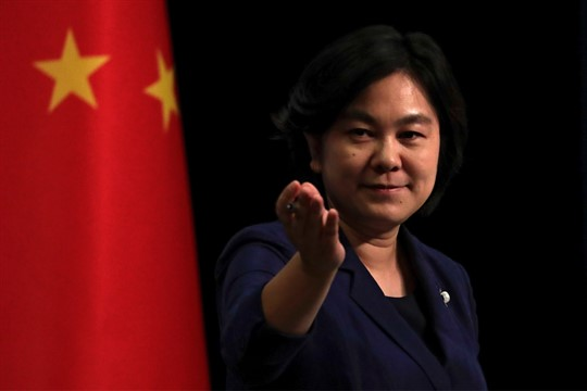 Chinese Foreign Ministry spokeswoman Hua Chunying during a briefing