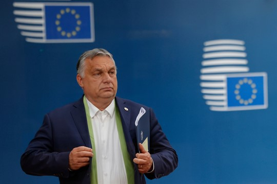 Hungarian Prime Minister Viktor Orban leaves at the end of an EU summit, Brussels