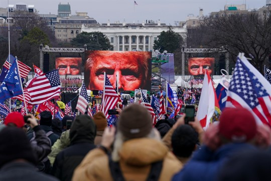 Trump supporters at a rally near the White House prior to the Capitol riot, Jan. 6.