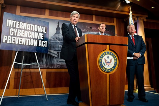 U.S. Senator Sheldon Whitehouse speaks at a press conference to introduce the Cybercrime Prevention Act.